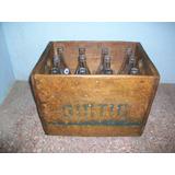 Antigua Jaba De Madera Con Sus 18 Botellas De Güitig.