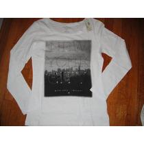 Camiseta American Eagle Blanca Manga Larga Large ( 632 )