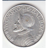 Panamá, Antigua Moneda De Plata 0,900 1/4 Balboa 1.962