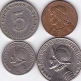 Set De 4 Monedas De Panama! 1-5-10-25 De Balboa