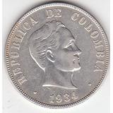 Colombia,antigua Moneda De Plata 0,900 50 Ctvs. 1.934