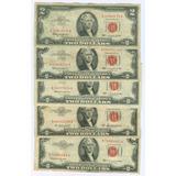 Billetes De 2 Dolares Sello Rojo Del Año 1.953 Y 1.963