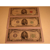Lote 3 Billetes: 5 Dólares Sello Rojo Y Verde 1963-1950-1934