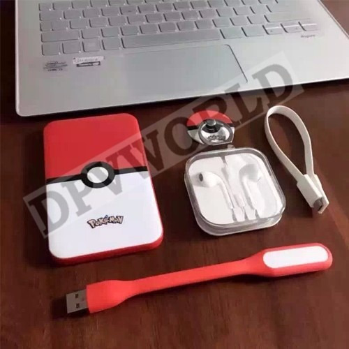 Kit Pokemon Bateria Power Bank Usb Audifono Linterna Llavero