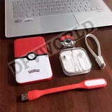 Pokemon Bateria Power Bank Usb Audifono Linterna Llavero Kit