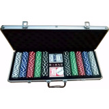 Maleta Aluminio De Poker 500 Fichas Numeradas+2 Maso+5 Dados