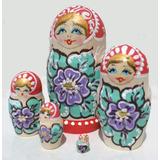 Las Munecas Rusas Rojas De Flores Pintadas Matrioskas 10cm