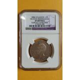 Moneda Certificada Ngc Xf! Medio Sucre 1884 - Der - Ecuador