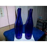 Antigua Botella De Vidrio, Color Azúl, Mide 31 Ctms.