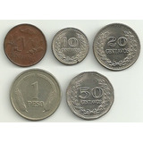 Set De 5 Monedas De Colombia! 5-10-20-50 Cents+1 Peso