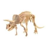 Esqueleto Juguete Dinosaurio Madera Triceratops Armable 3d