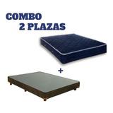 Cama Base 2 Plazas + Colchón Anti Ácaros + 3 Almohadas