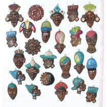 Lote 2 Mascaras Medianas De Ceramica Arte Afro En Ecuador
