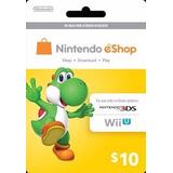 Nintendo Eshop Card Tarjeta Prepago Codigo Digital 10 Usd