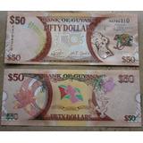 Billetes Mundiales: Guyana 50 Dolares Conmemorativo Guayana