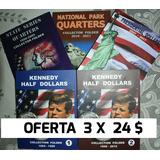 3 Album Coleccionador Monedas 25 Y 50 Cents Y 1 Dolar