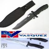 Cuchillo Tactico De Camping Negro 31 Cm Con Estuche Incluido