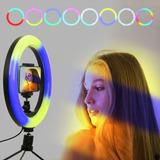 Aro De Luz Led Fotografía Multicolor Rgb + Control Tik Tok