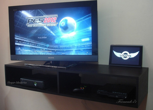 Mueble flotante 120cm para tv lcd led xbox360 bluray for Muebles para playstation