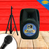 Caja Amplificada Bazzuka 15000w Bluetooth Microfono Pedestal