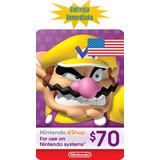 Tarjeta Prepago Nintendo Eshop $70