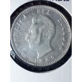 Moneda Antigua-dos Decimos-1889-santiago Chile-plata