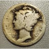 Moneda 10 Centavos Mercury Dime 1924 Plata 90% San Francisco