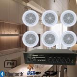 Kit Sonido Ambiental Bluetooth Usb Fm + 6 Parlantes De Techo
