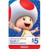 Tarjeta Nintendo Eshop De $5 O Mas