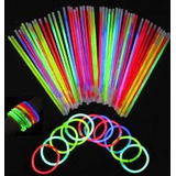 100 Pulseras Glow Neon Manillas Led Sticks Luminosas