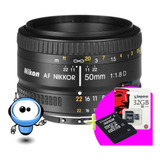 Nikon Lente Af Nikkor 50mm F/1.8d + Gratis M E M O R I A !!!