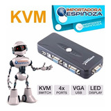 Switch Kvm Usb Vga 4 Puertos Kvm Pc Laptop  Ordenadores