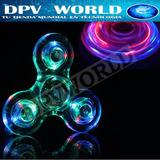 Fidget Spinner Transparente Luces Led Antiestres Resistente
