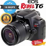 Camara Canon Profesional T6 Lente 18-55mm Wifi Full Hd Nueva