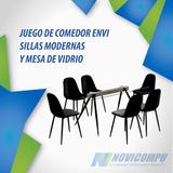 Juego De Comedor Envi 6 Sillas Modernas, Mesa De Vidrio