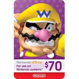 Tarjetas Nintendo Eshop $70