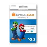 Tarjeta Prepago Eshop Nintendo Wiiu 3ds Gift Card $20-$35