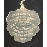 Medalla Antigua De Plata Recuerdo De Bautizo De 1909