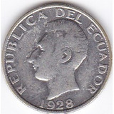 Moneda Decimal Ecuador! 50 Centavos 1928 - Laurita