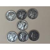 Un Lote De 7 Monedas De Diez Centavos De Plata Mercury Ee Uu