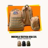 Mochila Táctica Camping Impermeable Usb 32l Silverknigth