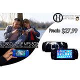 Consola 8gb Psp Mp5 Mp4 Mp3 Camara Digital Videos Juegos