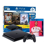 Ps4 Play Station 4 Slim 1 Tb Mega Pack + Pes 2021 !!
