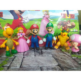 Set Figuras De Mario Bros X6 Mario Luigi Bowser Yoshi 13cm