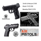 Pistola Co2 Smith & Wesson Mp40, Glock 19, Beretta Px4 Storm