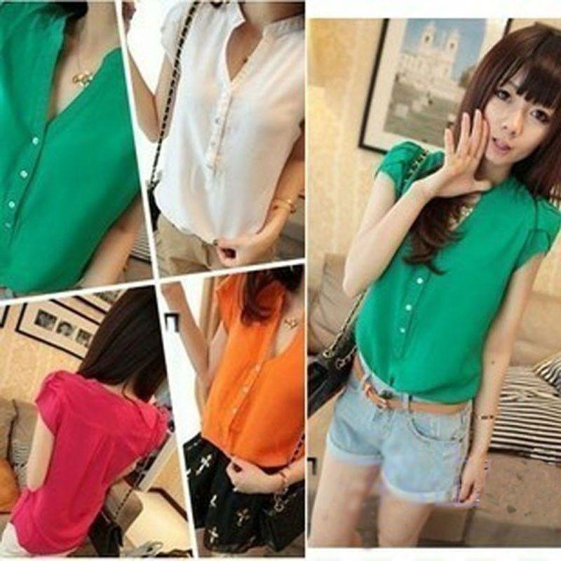 Blusa De Chifon Color Naranja Talla S - U$S 17,00 en MercadoLibre