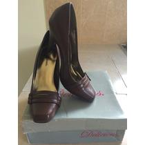 Zapatos Elegantes Color Café Marca Delisious En Caja