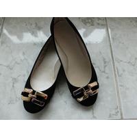 Zapatos Negros Hebilla Dorada Para Damas