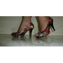 Hermosos Zapatos Tacones De Flores