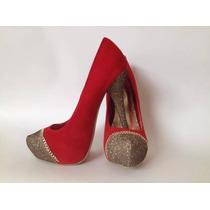 Zapatos De Mujer Taco Alto Rojos Talla 7 1/2